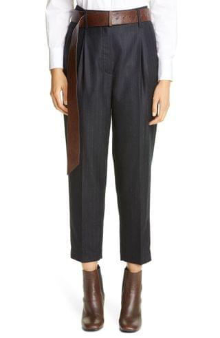 WOMEN Brunello Cucinelli Pinstripe Pleated Tapered Trousers