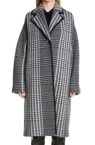 WOMEN St. John Collection Prince of Wales Felted Plaid Knit Coat