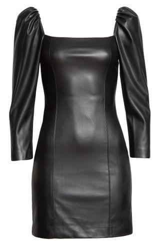 WOMEN Alice + Olivia Women's Frances Puff Sleeve Faux Leather Minidress