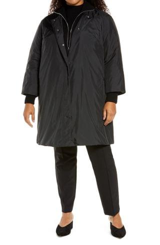 WOMEN Lafayette 148 New York Lawrence Down Coat with Knit Collar (Plus Size)