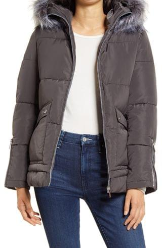 WOMEN French Connection Hooded Puffer Coat with Faux Fur Trim