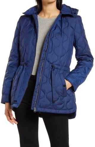 WOMEN French Connection Onion Quilted Hooded Coat