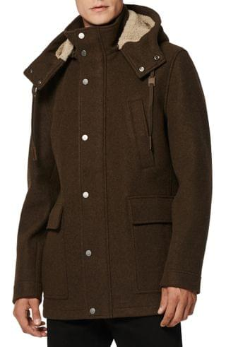 MEN Andrew Marc Newport Parka with Genuine Shearling Lined Hood