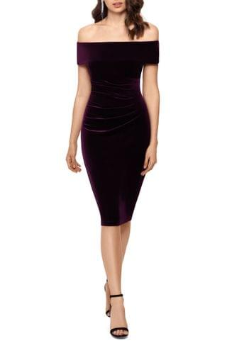 WOMEN Xscape Off the Shoulder Velvet Cocktail Dress