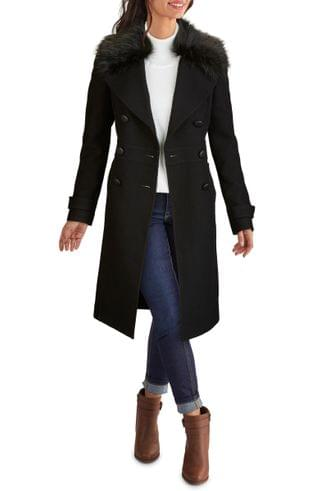 WOMEN Kenneth Cole New York Wool Blend Coat with Removable Faux Fur Collar