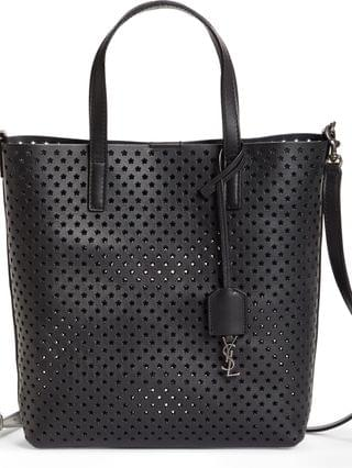 WOMEN Saint Laurent Toy North/South Star Perforated Leather Tote