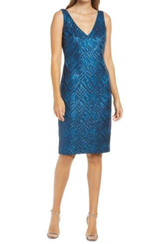 WOMEN Vince Camuto Sequin Sleeveless Sheath Cocktail Dress