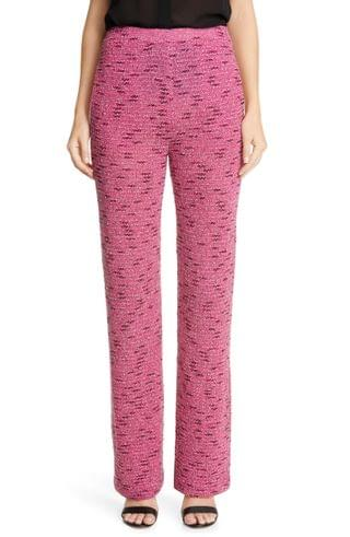 WOMEN St. John Collection Flash Pink Tweed Knit Pull-On Pants