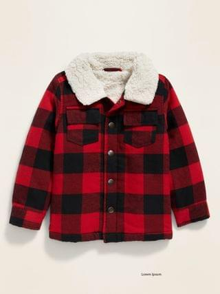 KIDS Sherpa-Lined Plaid Shirt Jacket for Toddler Boys