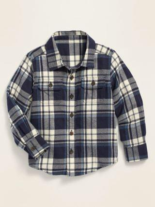KIDS Long-Sleeve Plaid Pocket Utility Shirt for Toddler Boys