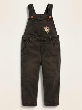 KIDS Embroidered Black Jean Overalls for Toddler Girls