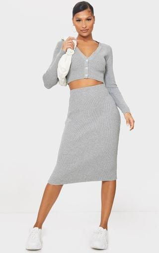 WOMEN Grey All Over Ribbed Knitted Midi Skirt