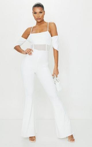 WOMEN White Ruched Mesh Binding Detail Off The Shoulder Jumpsuit