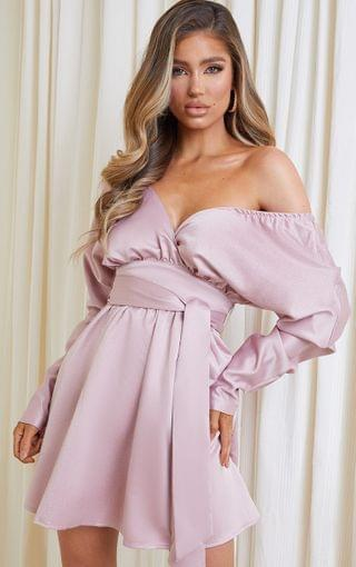 WOMEN Pink Heavy Satin Off Shoulder Belted Shift Dress