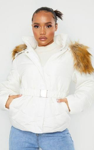 WOMEN PRETTYLITTLETHING White Belted Faux Fur Hooded Quilted Parka Coat