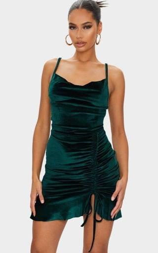 WOMEN Emerald Green Velvet Strappy Ruched Frill Hem Bodycon Dress