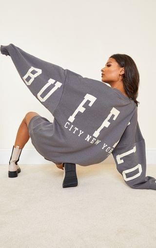 WOMEN Charcoal Buffalo New York Slogan Sweat Jumper Dress