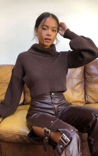 WOMEN Chocolate Soft Knit Chunky Roll Neck Knitted Sweater