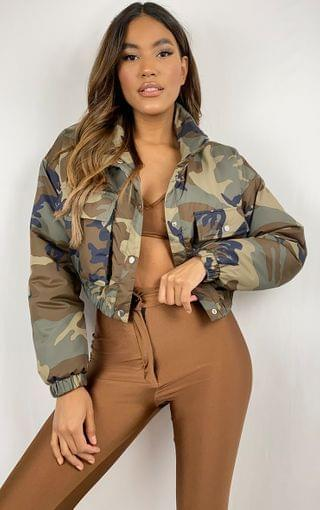 WOMEN Khaki Camo Cropped Puffer Jacket