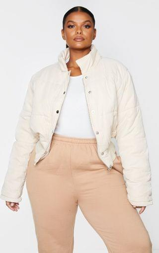 WOMEN Plus Beige Peach Skin Cropped Puffer Jacket