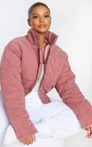 WOMEN Plus Pink Peach Skin Cropped Puffer Jacket
