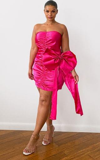 WOMEN Plus Pink Satin Ruched Front Bow Detail Bodycon Dress