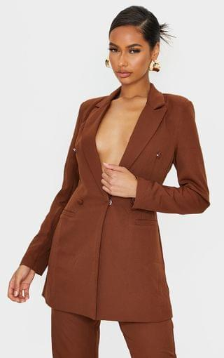 WOMEN Chocolate Brown Double Breasted Woven Blazer