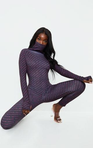 WOMEN PRETTYLITTLETHING Tall Black Face Mask Jumpsuit