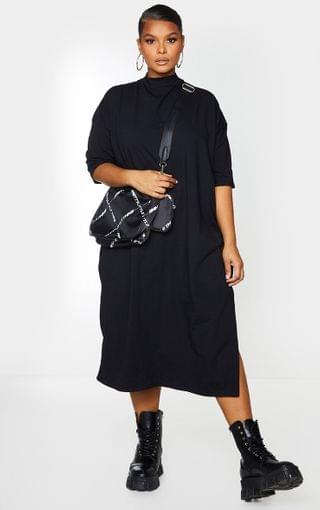 WOMEN Plus Black Oversized Midi T Shirt Dress
