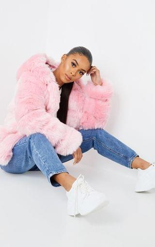 WOMEN Pink Premium Hooded Faux Fur Bubble Coat