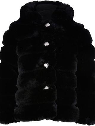 KIDS black faux fur hood coat