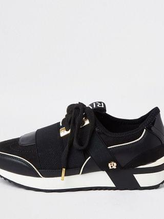 WOMEN Black lace up runner trainer