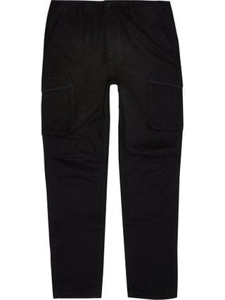 MEN Black cargo utility skinny fit trousers