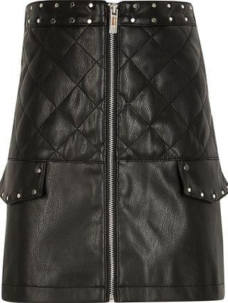 KIDS black faux leather quilted pocket skirt