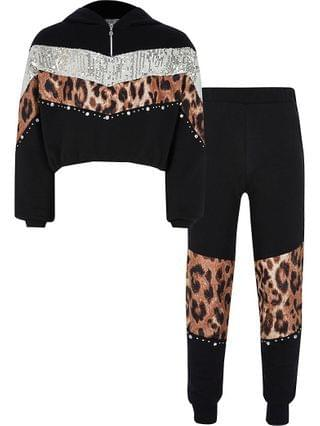 KIDS black sequin sweat outfit