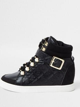 KIDS Girls black pearl monogram hi top trainer
