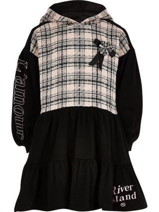 KIDS black boucle tiered sweat dress