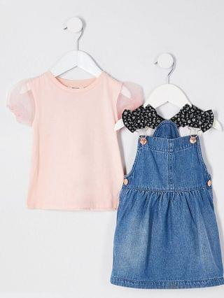 KIDS Mini girls denim pinny dress outfit