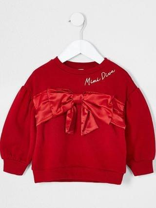 KIDS Mini girls red satin bow sweatshirt