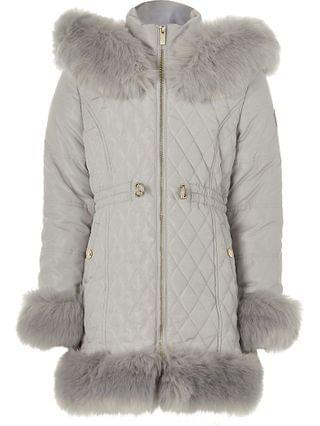 KIDS grey quitled faux fur trim padded coat