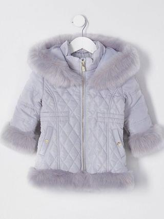 KIDS Mini grey quilted fur hem puffer coat