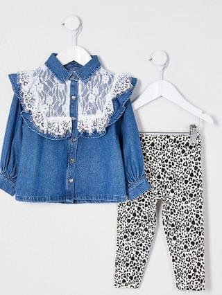 KIDS Mini girls lace denim shirt outfit