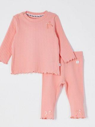KIDS coral ribbed bow leggings outfit