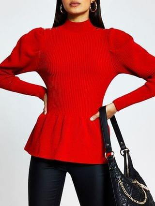 WOMEN Red structured peplum jumper