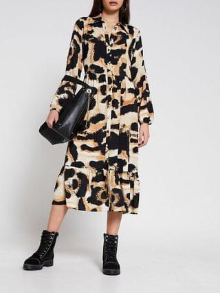 WOMEN Beige long sleeve animal midi shirt dress