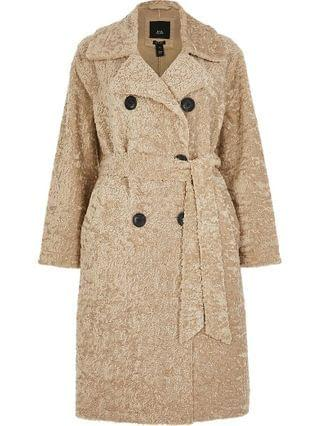 WOMEN Petite beige shearling belted long line coat
