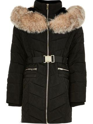 KIDS black matte belted puffer coat