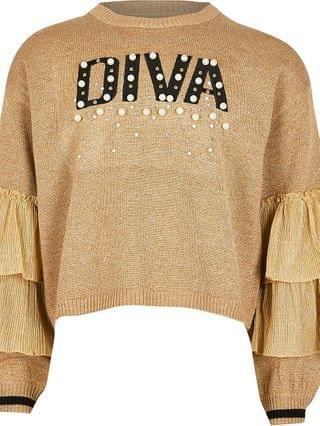 KIDS gold 'Diva' frill sleeve jumper