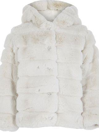 KIDS beige faux fur hood coat
