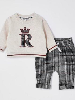 KIDS beige check jacquard sweat outfit